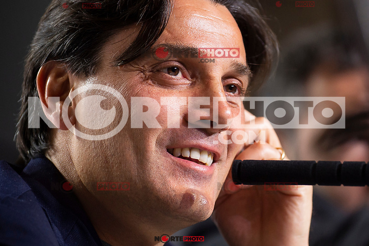 Coach Vincenzo Montella during press conference the day before King's Cup Finals match between Sevilla FC and FC Barcelona at Wanda Metropolitano in Madrid, Spain. April 20, 2018. (ALTERPHOTOS/Borja B.Hojas) /NortePhoto.com