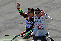Jeff Gordon (#24) and Dale Earnhardt,Jr. (#88) during driver intros.