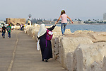 Mother Holding Daughters Hand While She Wlaks On Sea Wall