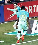 FC Barcelona's Leo Messi (l) and Samuel Umtiti celebrate goal during La Liga match. February 26,2017. (ALTERPHOTOS/Acero)