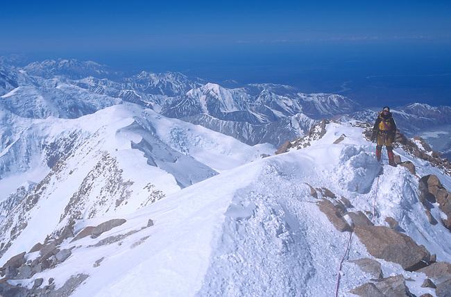 Climber on Ridge, 16,000 feet, Mt. McKinley, Alaska<br /> MODEL RELEASED