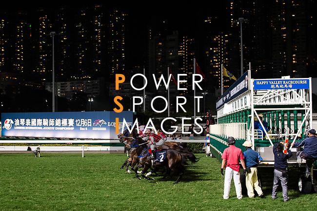 Jockeys riding their horses during the race 4 as part of Hong Kong Racing at Happy Valley Race Course on December 06, 2017 in Hong Kong, Hong Kong. Photo by Marcio Rodrigo Machado / Power Sport Images