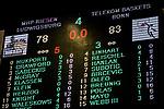 Endstand Anzeigetafel 78:83 beim Spiel in der Basketball Bundesliga, MHP Riesen Ludwigsburg - Telekom Baskets Bonn.<br /> <br /> Foto &copy; PIX-Sportfotos *** Foto ist honorarpflichtig! *** Auf Anfrage in hoeherer Qualitaet/Aufloesung. Belegexemplar erbeten. Veroeffentlichung ausschliesslich fuer journalistisch-publizistische Zwecke. For editorial use only.