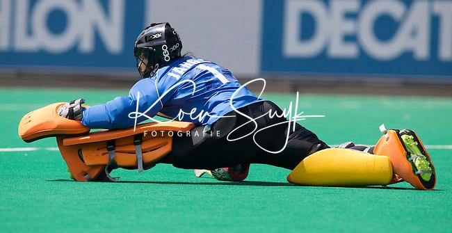 ANTWERP -   Korean goalkeeper Soo Ji  Jang  during  the hockeymatch   Japan vs Korea WSP COPYRIGHT KOEN SUYK