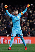 9th January 2018, Mestalla Stadium, Valencia, Spain; Copa del Rey football, round of 16, second leg, Valencia versus Las Palmas; Jaume, goalkeeper for Valencia Cf celebrates the first goal of the game for Valencia Cf