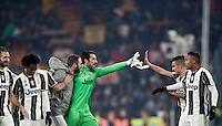 Calcio, Serie A: Juventus vs Roma. Torino, Juventus Stadium,17 dicembre 2016. <br /> From left, Juventus' Giorgio Chiellini, Juan Cuadrado, Gonzalo Higuain, Gianluigi Buffon, Paulo Dybala and Alex Sandro celebrate at the end of the Italian Serie A football match between Juventus and Roma at Turin's Juventus Stadium, 17 December 2016. Juventus won 1-0.<br /> UPDATE IMAGES PRESS/Isabella Bonotto