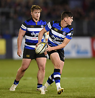 Freddie Burns of Bath Rugby looks to pass the ball. Anglo-Welsh Cup match, between Bath Rugby and Leicester Tigers on November 10, 2017 at the Recreation Ground in Bath, England. Photo by: Patrick Khachfe / Onside Images