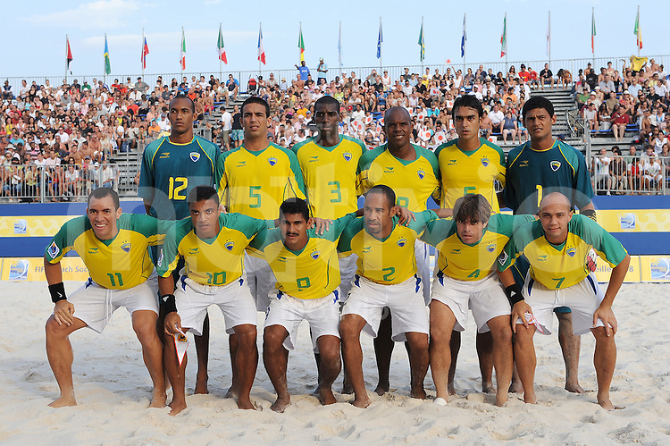 FIFA BEACH SOCCER WORLD CUP 2008 JAPAN - BRAZIL   20.07.2008 Team picture (BRA). Back row (l-r): WAGNER, DANIEL, BUENO, Junior NEGAO, BRUNO, MAO. Front row (l-r): BURU, BENJAMIN, ANDRE, DUDA, BETINHO, SIDNEY (BRA).