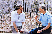 United States President Jimmy Carter meets with US Secretary of State-Designate Edmund Muskie during a working week-end on foreign policy at Camp David, the Presidential retreat near Thurmont, Maryland on Saturday, May 3, 1980.<br /> Credit: White House via CNP