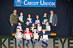 RUNNERS UP: 2nd and 3rd in the Clanmaurice Art competition who were presented with their certificates and plaques on Tuesday night at Causeway comprehensive Secondry School,Front l-r: Jason O'Rourke(Ballyduff NS)Gary Carey(Ballincrossig NS),Jordon Goggin (Glenderry NS) and and Rory McAuliffe(Lixnaw NS). Centre l-r: Christina Meehan(Causeway Comprehensive), Dylan Murphy(Ballincrossig NS), Lisa Barrett(Scoil Chriost Drumnacurra),Roisin Griffin (Ballyduff CNS) and Jennifer Falvey( Causeway Comprehensive). Back l-r:John Harrington (chairman), gary O'Brien (causeway Comprehensive), Leah Moriarty (Sliabh a Mhadra),Michea?l Burke (Ballyduff CNS), Aidan Mcmahon (Causeway Comprehensive) and John O'Regan (Credit Union)..................... ..........