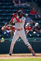 Carlos De La Cruz (27) of the Lakewood BlueClaws at bat against the Hickory Crawdads at L.P. Frans Stadium on April 28, 2019 in Hickory, North Carolina. The Crawdads defeated the BlueClaws 10-3. (Brian Westerholt/Four Seam Images)