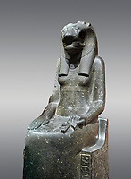 "Ancient Egyptian statue of goddess Sekhmet, grandodiorite, New Kingdom, 18th & 20thDynasty (1390-1150 BC), Thebes. Egyptian Museum, Turin. Grey Background.<br /> <br /> In this statue of Sekhmet the goddess is called ""mistress of Shenut"" possibly linking her to the lioness goddess Repyt of Anthribis.  Sekhmet, ""the Powerful One"" was a fearsome goddess symbolised by her lioness head. Daughter of the sun she personifies the disk of the world during the day. Sekhmet is the angry manifestation of Hathor inflicting the scourges of summer heat, famine and illness which is why the goddess needed to be exorcised every day. Drovetti Collection. C 248"