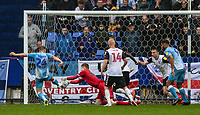 Bolton Wanderers' goalkeeper Matthew Alexander saves at close range from Coventry City's Matt Godden  <br /> <br /> Photographer Andrew Kearns/CameraSport<br /> <br /> The EFL Sky Bet Championship - Bolton Wanderers v Coventry City - Saturday 10th August 2019 - University of Bolton Stadium - Bolton<br /> <br /> World Copyright © 2019 CameraSport. All rights reserved. 43 Linden Ave. Countesthorpe. Leicester. England. LE8 5PG - Tel: +44 (0) 116 277 4147 - admin@camerasport.com - www.camerasport.com