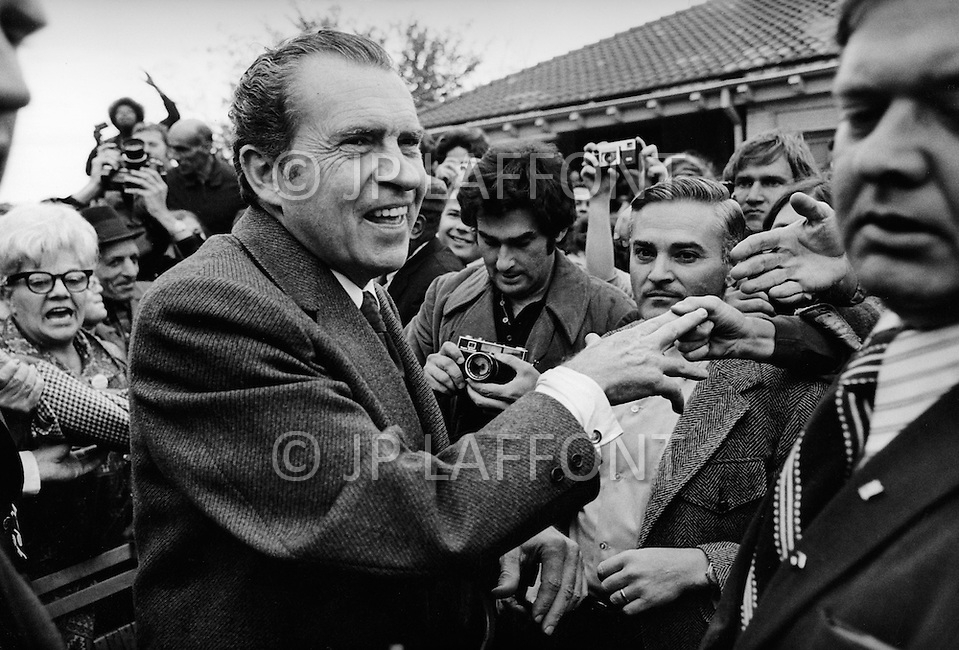 "October 23, 1972 - Westchester, New York, United States:  Richard Milhous Nixon and his wife, Thelma Catherine ""Pat"" Ryan Nixon, on the campaign trail in Nassau country New York. JP Laffont"