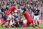 Alasdair Dickinson of Scotland tackled by Alun Wyn Jones and Gethin Jenkins of Wales- RBS 6Nations 2015 - Scotland  vs Wales - BT Murrayfield Stadium - Edinburgh - Scotland - 15th February 2015 - Picture Simon Bellis/Sportimage