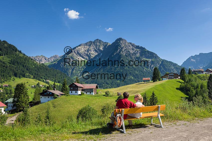 Austria, Vorarlberg, Kleinwalsertal, village Hirschegg and Allgaeu Alps   Oesterreich, Vorarlberg, Kleinwalsertal, Hirschegg vor Allgaeuer Alpen