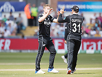 James Neesham (New Zealand) celebrates the wicket of Jason Roy with Martin Guptill (New Zealand) during England vs New Zealand, ICC World Cup Cricket at The Riverside Ground on 3rd July 2019