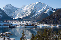 Austria, Tyrol, winter at Achen Lake with Pertisau and Karwendel mountains