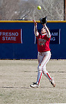 March 23, 2012:    Fresno State Bulldogs second baseman Brooke Ortiz catches a pop up against the Nevada Wolf Pack during their NCAA softball game played at Christina M. Hixson Softball Park on Friday in Reno, Nevada.