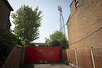 An exterior view of the ground's floodlight pylons pictured before Brentford hosted Leeds United in an EFL Championship match at Griffin Park. Formed in 1889, Brentford have played their home games at Griffin Park since 1904, but are moving to a new purpose-built stadium nearby. The home team won this match by 2-0 watched by a crowd of 11,580.