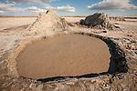 Mud volcanos (carbon dioxide mud pots) near the shore of the Salton Sea, California