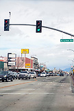 USA, California, Mammoth, stores and restaurants along the main street in Bishop