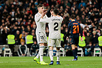 Real Madrid's Federico Valverde (L) and Dani Carvajal (R) celebrate goal during La Liga match between Real Madrid and Valencia CF at Santiago Bernabeu Stadium in Madrid, Spain. December 01, 2018. (ALTERPHOTOS/A. Perez Meca)