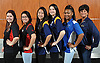 The 2016 Newsday All-Long Island varsity girls bowling team poses for a group picture at company headquarters on Wednesday, Mar. 30, 2016. From left: Britt Arne - Patchogue-Medford, Olivia Lopera - East Islip, Sammi Ng - Bethpage, Carly Licht - Bethpage, Diamond Hunter - Copiague and Coach Renee Gannon - Bethpage.