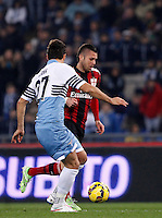 Calcio, Serie A: Lazio vs Milan. Roma, stadio Olimpico, 24 gennaio 2015.<br /> AC Milan's Jeremy Menez, right, runs on his way to score as Lazio's Lorik Cana tries to stop him during the Italian Serie A football match between Lazio and AC Milan at Rome's Olympic stadium, 24 January 2015.<br /> UPDATE IMAGES PRESS/Isabella Bonotto