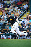 Pittsburgh Pirates shortstop Jordy Mercer (10) at bat during a Spring Training game against the Toronto Blue Jays  on March 3, 2016 at McKechnie Field in Bradenton, Florida.  Toronto defeated Pittsburgh 10-8.  (Mike Janes/Four Seam Images)