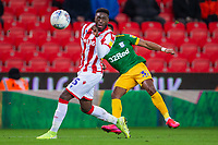 12th February 2020; Bet365 Stadium, Stoke, Staffordshire, England; English Championship Football, Stoke City versus Preston North End; Scott Sinclair of Preston North End crosses the ball past Bruno Martins Indi of Stoke City