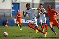 Andre Green (Aston Villa) of England U19 heads past Dani De Wit (Ajax) of Holland during the International match between England U19 and Netherlands U19 at New Bucks Head, Telford, England on 1 September 2016. Photo by Andy Rowland.