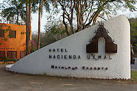 Sign at entrance to the Hotel Hacienda Uxmal near the Mayan ruins of Uxmal, Yucatan, Mexico.