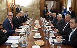 Palestinian President Mahmoud Abbas meets with Irish Prime Minister Leo Varadkar in Dublin, Ireland on September 22, 2018. Photo by Thaer Ganaim