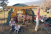 Family camping at Mauna Kea State Recreation Area, Big Island of Hawaii