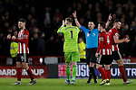 Sheffield United players celebrate VAR ruling out a West Ham United goal during the Premier League match at Bramall Lane, Sheffield. Picture date: 10th January 2020. Picture credit should read: James Wilson/Sportimage