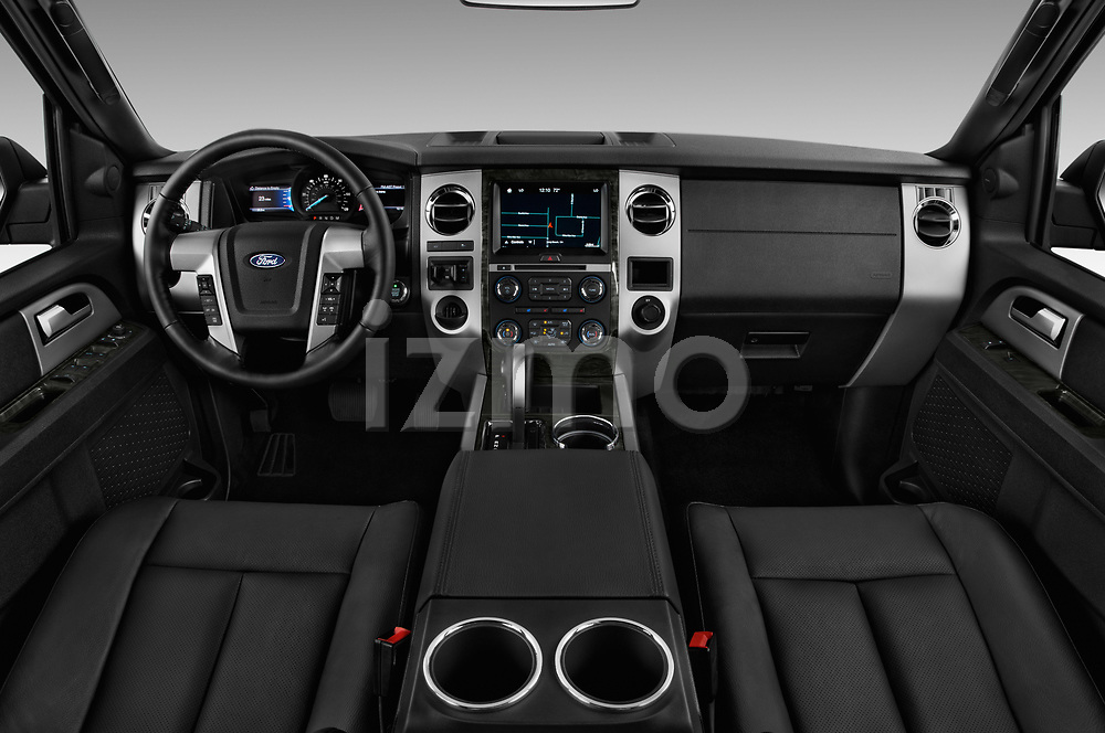 Stock photo of straight dashboard view of 2016 Ford Expedition Limited 5 Door SUV Dashboard