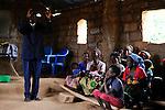 Angola Kwanza Sul, village Sao Pedro, holy mass in church, catechist / ANGOLA Kwanza Sul, Dorf Sao Pedro, Dorfkirche und Gottesdienst, Katechist