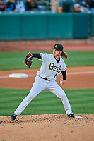 Salt Lake Bees starting pitcher Dillon Peters (20) delivers a pitch to the plate against the Tacoma Rainiers at Smith's Ballpark on May 27, 2019 in Salt Lake City, Utah. The Bees defeated the Rainiers 5-0. (Stephen Smith/Four Seam Images)