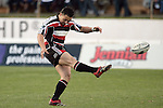 Troy Nathan kicks for touch during the Air NZ Cup rugby game between Bay of Plenty & Counties Manukau played at Blue Chip Stadium, Mt Maunganui on 16th of September, 2006. Bay of Plenty won 38 - 11.