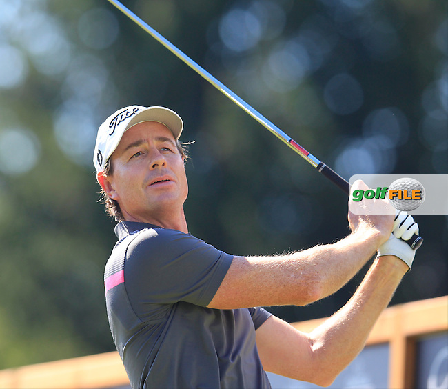 Brett Rumford (AUS) tees off the 16th tee during Saturday's Round 3 of the 2014 Omega European Masters held at the Crans Montana Golf Club, Crans-sur-Sierre, Switzerland.: Picture Eoin Clarke, www.golffile.ie: 6th September 2014