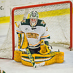 20 February 2016: University of Vermont Catamount Goaltender Packy Munson, a Freshman from Hugo, MN, makes a third period save against the Boston College Eagles at Gutterson Fieldhouse in Burlington, Vermont. The Eagles defeated the Catamounts 4-1 in the second game of their weekend series. Mandatory Credit: Ed Wolfstein Photo *** RAW (NEF) Image File Available ***