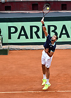 BOGOTA - COLOMBIA – 16 – 09 -2019: Marin Cilic de Croacia, sirve durante partido de dobles de la Copa Davis entre los equipos de Colombia y Croacia, partidos por el ascenso al Grupo Mundial de Copa Davis por BNP Paribas, en la Plaza de Toros La Santamaria en la ciudad de Bogota. / Marin Cilic of Croatia, serves during a Davis Cup doubles tennis match between the teams of Colombia and Croatia, match promoted to the World Group Davis Cup by BNP Paribas, at the La Santamaria Ring Bull in Bogota city. / Photo: VizzorImage / Luis Ramirez / Staff.