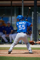 Toronto Blue Jays designated hitter Geyber Jimenez (55) at bat during a Florida Instructional League game against the Pittsburgh Pirates on September 20, 2018 at the Englebert Complex in Dunedin, Florida.  (Mike Janes/Four Seam Images)