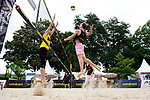 25.07.2020, Düsseldorf / Duesseldorf, Merkur Spiel-Arena<br /> Beachvolleyball, comdirect Beach Tour, Road to Timmendorfer Strand, Manuel Harms / Richard Peemüller / Peemueller vs. Simon Pfretzschner / Milan Sievers <br /> <br /> Block Richard Peemüller / Peemueller  - Angriff Simon Pfretzschner<br /> <br />   Foto © nordphoto / Kurth