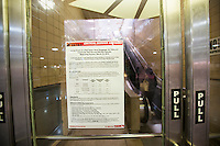 An strike disruption informational sign inNewark Penn Station in Newark, NJ on Friday, March 11, 2016. Negotiations are underway to prevent a strike by NJ Transit workers on Sunday, March 13 at 12:01AM. On Monday 160,000 riders  who use the rail system on a weekday will have to contend with contingency plans that can only accommodate 40 percent of them.  (© Richard B. Levine)