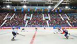 Stockholm 2014-08-21 Ishockey CHL Djurg&aring;rdens IF - Fribourg-Gotteron  :  <br /> Vy &ouml;ver Hovet under matchen mellan Djurg&aring;rdens och Fribourg-Gotterons <br /> (Foto: Kenta J&ouml;nsson) Nyckelord:  Djurg&aring;rden Hockey Hovet CHL Fribourg Gotteron supporter fans publik supporters inomhus interi&ouml;r interior