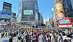 June 15, 2014, Shibuya, Tokyo, Japan : Japanese Police officers try to control Japanese soccer fans on a crossroad following at the Shibuya shopping district, Tokyo, Japan, on June 15, 2014.<br /> (Photo by AFLO)