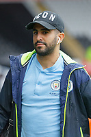 Riyad Mahrez of Manchester City greets young fans as he arrives during the English Emirates FA Cup soccer match between Swansea City and Manchester City at the Liberty Stadium, Swansea, Wales, Britain, 16 March 2019. EPA/DIMITRIS LEGAKIS <br /> EDITORIAL USE ONLY. No use with unauthorized audio, video, data, fixture lists, club/league logos or 'live' services. Online in-match use limited to 75 images, no video emulation. No use in betting, games or single club/league/player publications