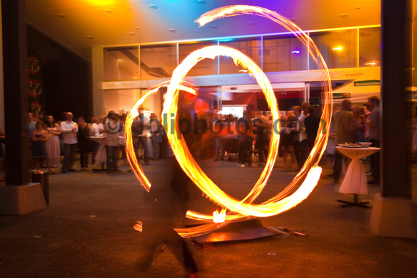 Sunday, 6 February 2011.Fire twirlers.   THE soul and spirit of Australian surfing was on show on the Gold Coast last night with Alby Falzon being elevated into the sport's Hall of Fame at the Australian Surfing Awards.. .Legendary surf filmmaker Falzon became the 33rd member respectively of the Hall of Fame which began with the initial induction of Snow McAllister (Deceased) and 4 x World Champion Mark Richards in 1985..Co-founder of the original Aussie counter-culture surf bible, Tracks, and director of the classic surf film 'Morning of the Earth', Falzon lives up to his reputation as the spiritual father of the alternative surf lifestyle. .Last night's awards at the Arts Centre was organised by Surfing Australia and featured a who's who of the Australian surfing community. .Two time ASP Men's World Champion Mick Fanning was recognized as the Male Surfer of the Year, four time ASP Women's World Champion Stephanie Gilmore was named Female surfer of the year, with recently crowned ASP World Junior champion Jack Freestone notching up the Rising Star Award of Australian surfing.  Photo: joliphotos.com